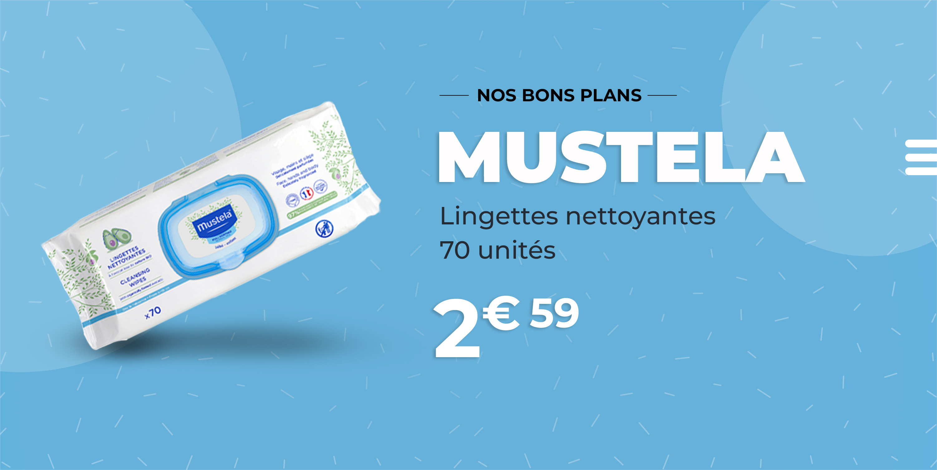Mustela Lingettes 70 unités